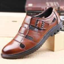 100% Genuine Leather Mens hollow out classic Sandals Buckle dress Leisure Shoes
