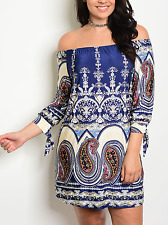 SEXY NEW Plus Size Navy Paisley Off Shoulder Dress  MADE IN USA