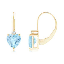 Solitaire Heart Aquamarine and Diamond Leverback Earrings in 14k Yellow Gold