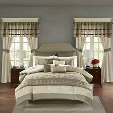 Luxurious Embroidery Taupe Faux Silk Comforter Curtain 24 pcs Set Cal King Queen