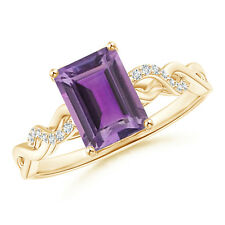 Solitaire Emerald Cut Amethyst and Diamond Engagement Ring 14k Yellow Gold
