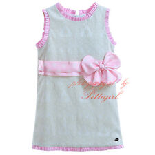 Infant Baby Girl Dress Pink Bow Toddler Sleeveless Summer Holiday Party Pageant