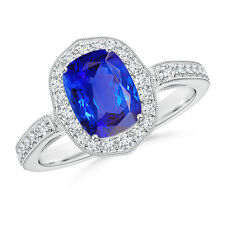 Cushion Cut Tanzanite Halo Ring with Diamond Accents 14K White Gold Platinum