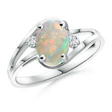 Split Shank Solitaire Cabochon Opal Diamond Ring Sterling Silver Size 3-13