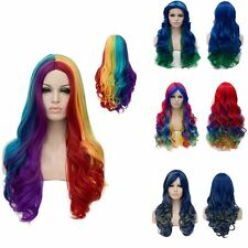 Cosplay Long Wig Highlights Natural Curly Straight Wavy Multicolor Womens Ladies
