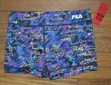 Fila Sport Compression Running Shorts Performance Wear Wicking Neon Scribble