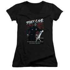 They Live Movie YOU'RE WRONG. DEAD WRONG. Licensed Juniors V-Neck Tee Shirt