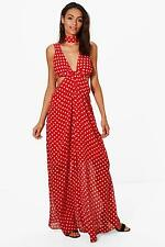 Boohoo Womens Pamela Polka Dot Neck Tie Maxi Dress