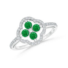 Round Natural Emerald Clover Ring with Diamond Accents 14K White Gold Size 3-13