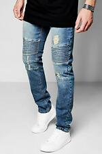 Boohoo Mens Mid Blue Denim Biker Jeans In Skinny Fit