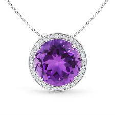 "Natural Diamond Halo Round Amethyst Pendant necklace 14k White Gold 18"" Chain"