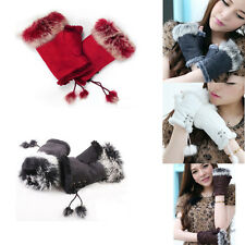 Lady Hand Solid Wrist Winter Warm Fashion Fingerless Rabbit Fur Gloves Women Pop