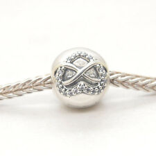 Authentic Genuine S925 Sterling Silver Infinity Heart Clear CZ Clip Charm