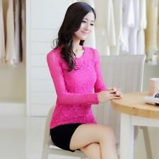 Women Blouses Autumn Lace Blouse O-neck Casual Crochet Long-sleeved Shirt Ladies