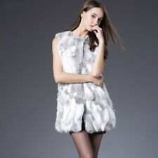 Women Rabbit Fur Vest Real Fur Coats Winter Autumn Fur Vest Coat Outwear