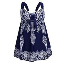 Womens Navy Blue Swimsuit Retro Paisley Plus Tankini Swimwear Bathing Swimdress