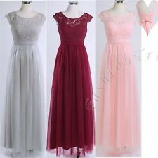 Long Lace Evening Formal Party Ball Gown Prom Womens Cap Sleeve Bridesmaid Dress