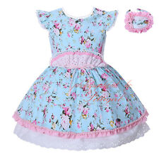 Toddler Girl Flower Backless Dress with Headband Kids Bow Princess Party Pageant