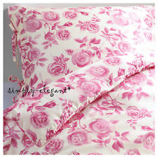IKEA EMELINA ROS Duvet Quilt Cover 2/3pc set Twin King Lyocell Pink Rose Floral