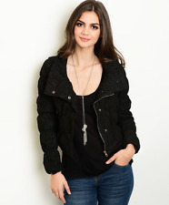 NWT Women's Cute Padded All Over Cropped Black Lace Puff Jacket