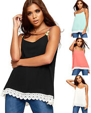 Womens Daisy Strappy Sleeveless Chiffon Lined Vest Ladies Floral Lace Trim Top