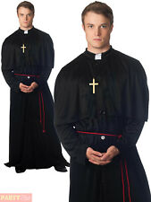 Adults Priest Vicar Costume Mens Holy-Er Than Though Fancy Dress Exorcist Outfit