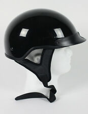 DOT APPROVED GLOSS BLACK MOTORCYCLE HALF BEANIE HELMET - free shipping
