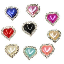 10pcs Flatback Crystal Pearl Heart Embellishment Buttons for Scrapbooking Craft
