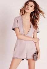 BNWT Missguided Faux Suede Deep Plunge Lilac Dressy Playsuit