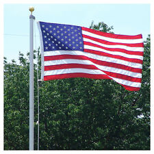 18 FT. STEEL FLAGPOLE W/ 3'x5' U.S.FLAG 3'x5' STATE FLAG &(3) CAR ANTENNA FLAGS