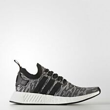 NEW MEN'S ADIDAS NMD R2 PRIMEKNIT SHOES  [BY9409]  BLACK//BLACK-WHITE