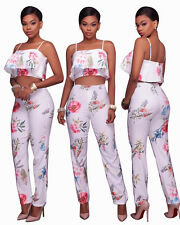 Bodycon Two Pieces Jumpsuit Womens Flower Print Suit  Sexy Backless Strap Top