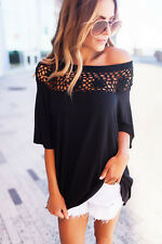 Blouse tops casual T-shirt Women's fashion long-sleeve off shoulder hollow
