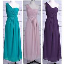 Pretty Women's Long One Shoulder Chiffon Bridesmaid Evening COCKTAIL Prom Dress