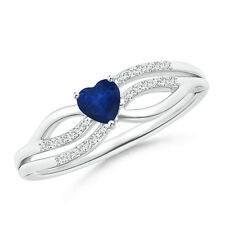 Solitaire Sapphire Diamond Heart Promise Ring in 14k White Gold Size 3-13