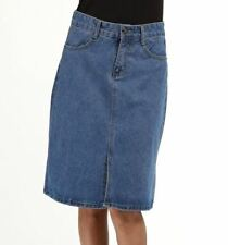 Women Spring High Waist Cotton Plus Size Long Denim Skirt Blue Color