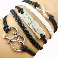 Sweetness One Direction Infinity Leather Cute Charm Bracelet Plated Silver