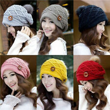 Hot Womens Girls Warm Winter Popular Button Beanies Knit Thick Ski Cap Hat NEW a