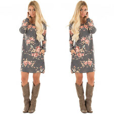 Long Sleeve Floral Casual Loose Dress Party Evening Cocktail Dress Fashion Women