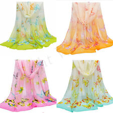 Women Girls Chiffon Butterfly Long Soft Scarf Shawl Wrap Scarves Stole New W063