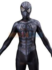 Adult Marvel Amazing Black Spiderman 2 Costume Halloween Superhero Cosplay Suit