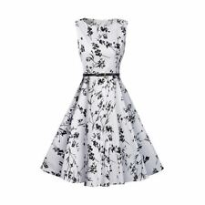Women Sleeveless Summer New Fashion Floral Printed Belted Party Wear Dress
