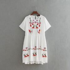 Floral Embroidered Short Sleeve White Color Casual Knee Length Dress For Women