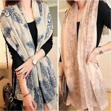 Summer Blue and White Color Geometric Pattern Chiffon Scarf  For Women