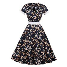 Floral Printed Plus Size Square Collar Short Sleeve Knee Length Dress For Women