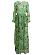 Women Green Color Printed Long Sleeve Belted High Waist Floor Length Dress
