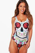 Boohoo Womens Petite Roxy Skull + Rose Print Swimsuit