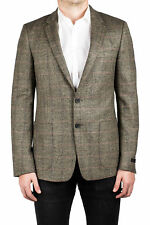 Prada Men's Notched Lapel Virgin Wool Sport Jacket Coat Blazer Plaid Stone Grey