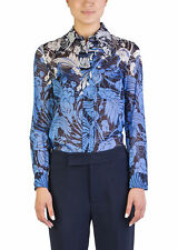 Miu Miu Women's Cotton Long Sleeve Floral Print Blouse Blue