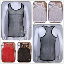 Sexy Men's Fishnet See-through T-shirt Top Tank Vest Muscle Undershirt Clubwear